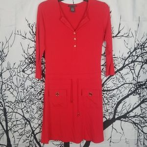 Red Long Sleeve Button Down Holiday Dress size 4